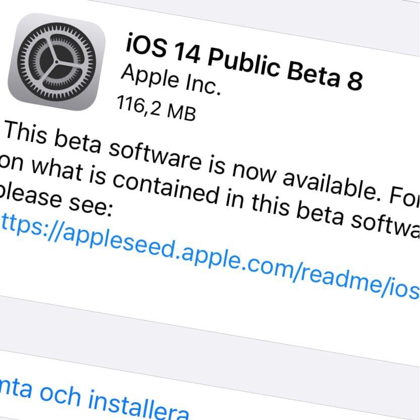 Apple har släppt iOS 14 Public Beta 8