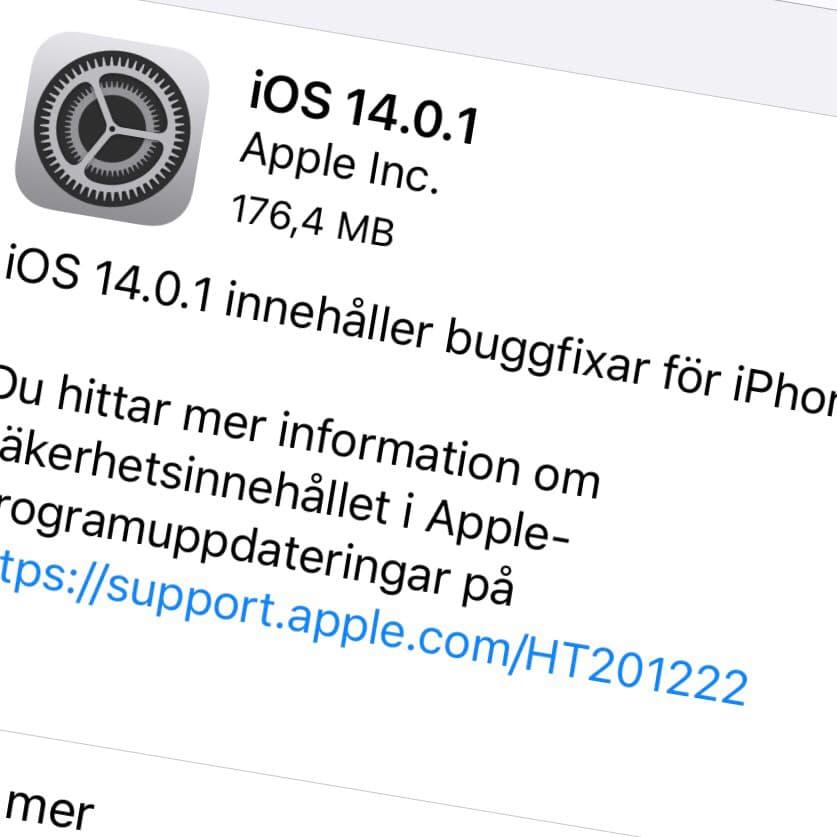 Apple har släppt iOS 14.0.1