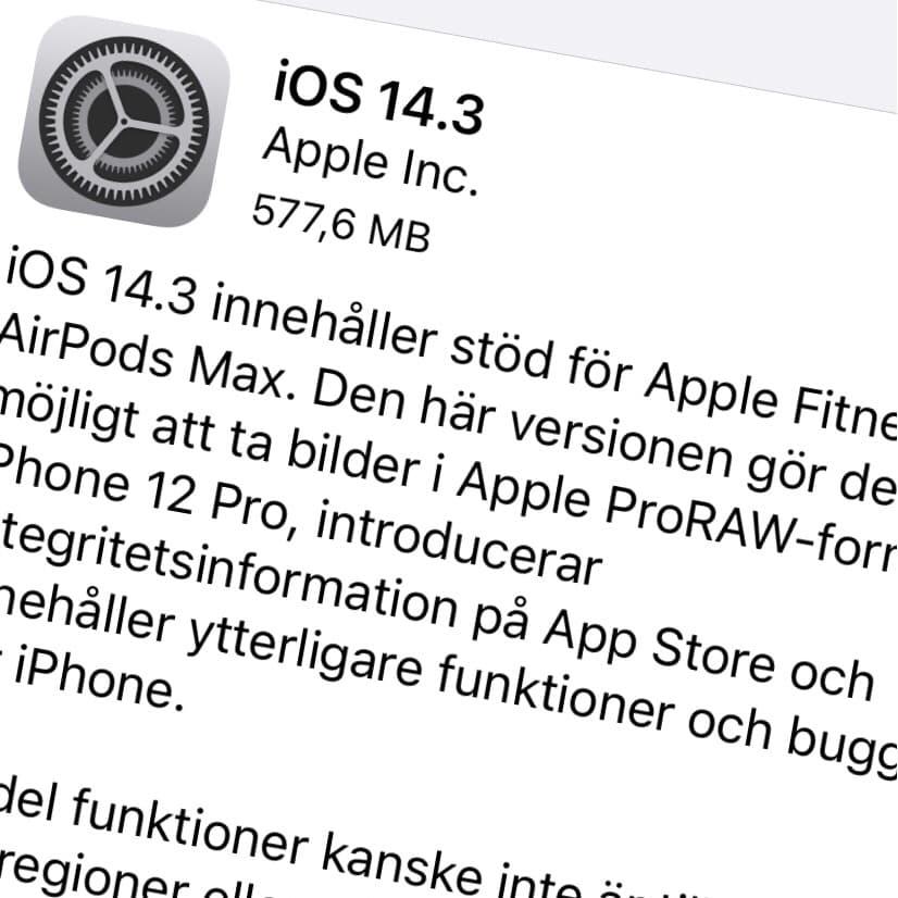 Apple har släppt iOS 14.3