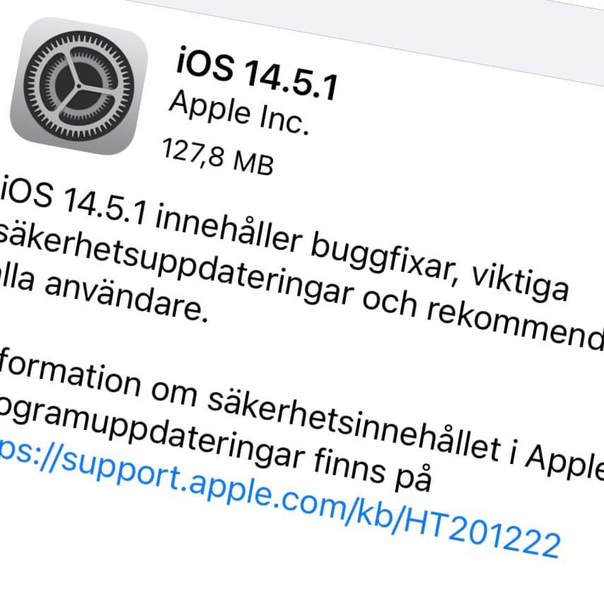 Apple har släppt iOS 14.5.1