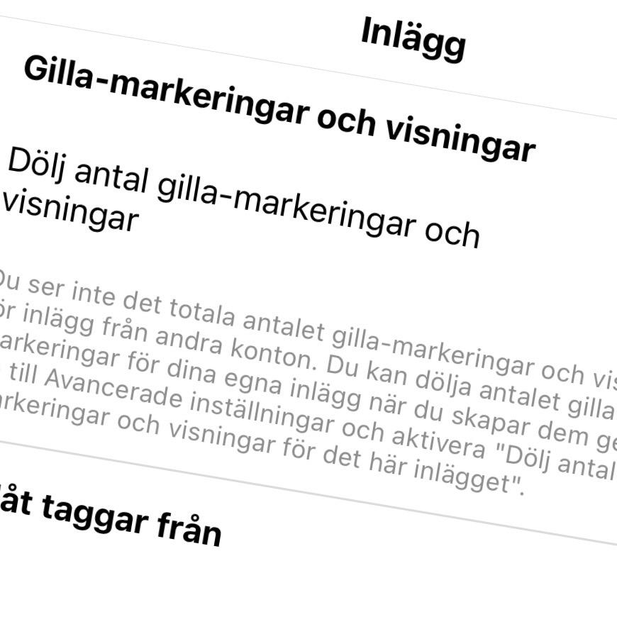 Göm antal Gilla-markeringar på Instagram