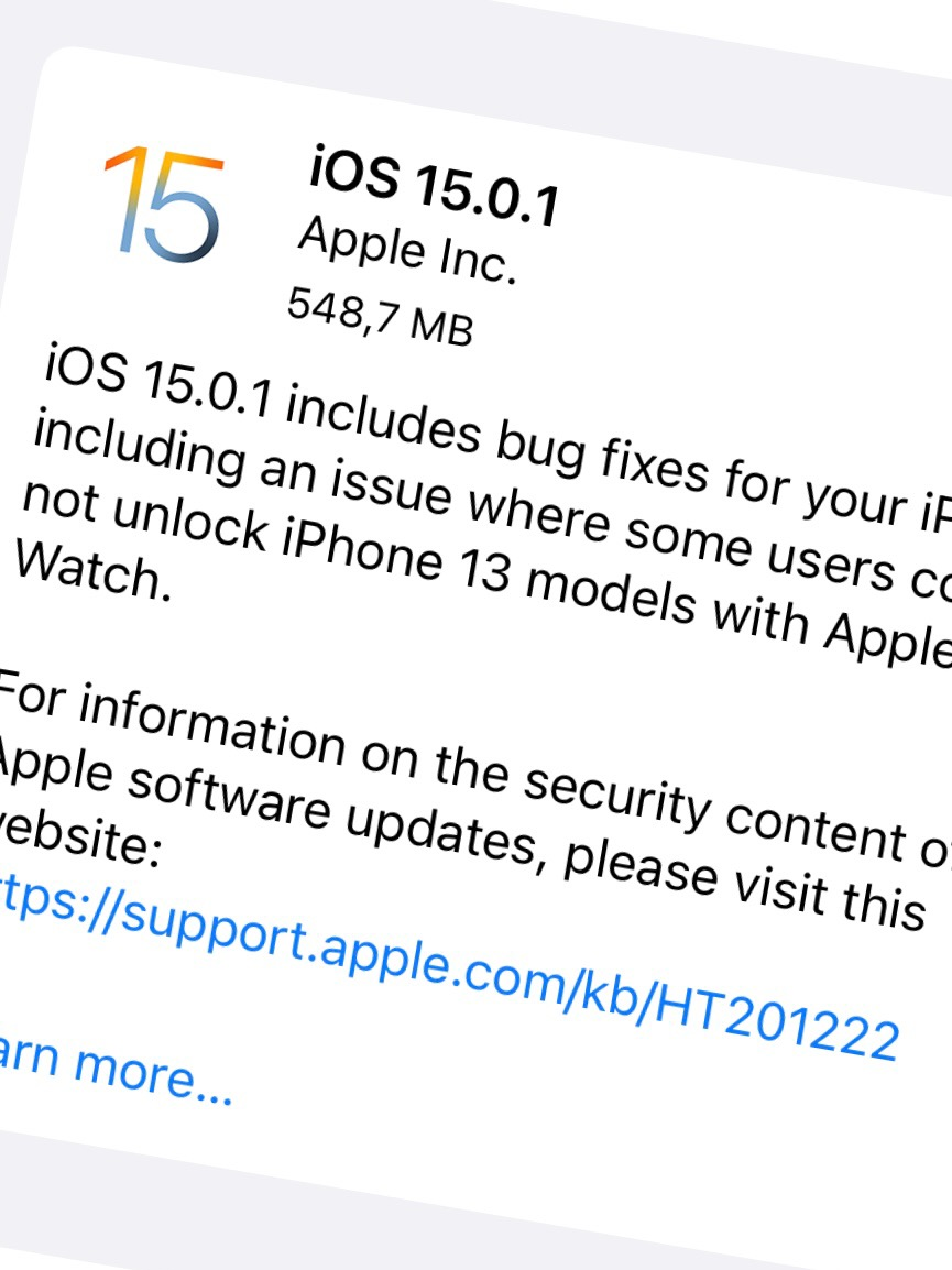 Apple har släppt iOS 15.0.1