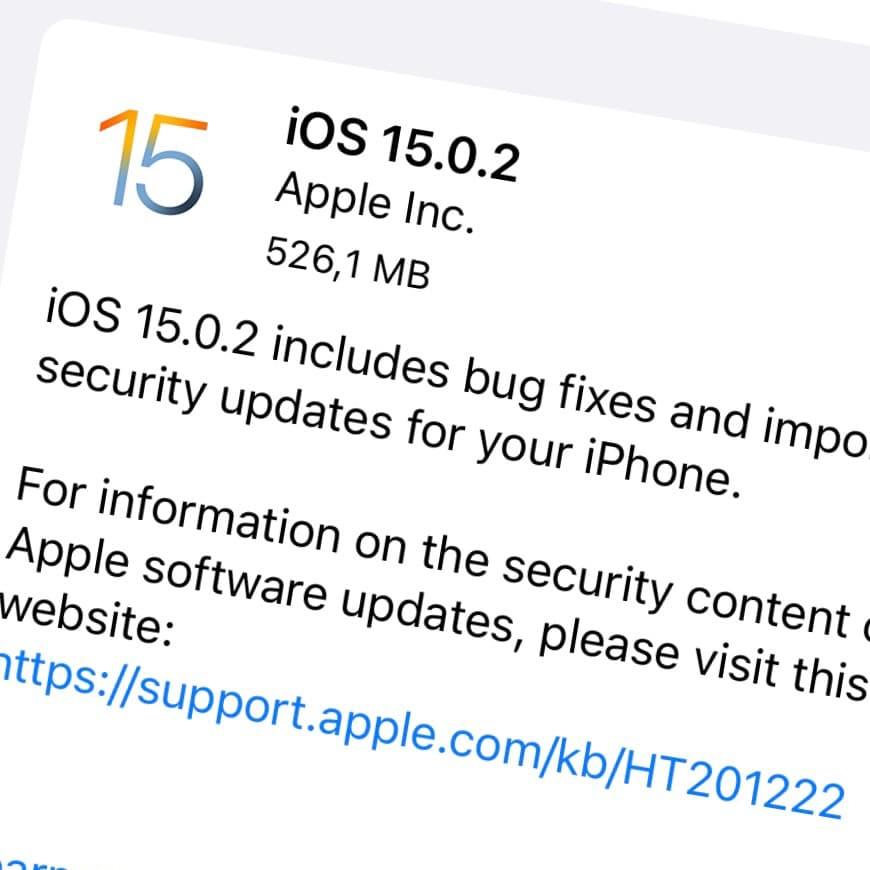 Apple har släppt iOS 15.0.2